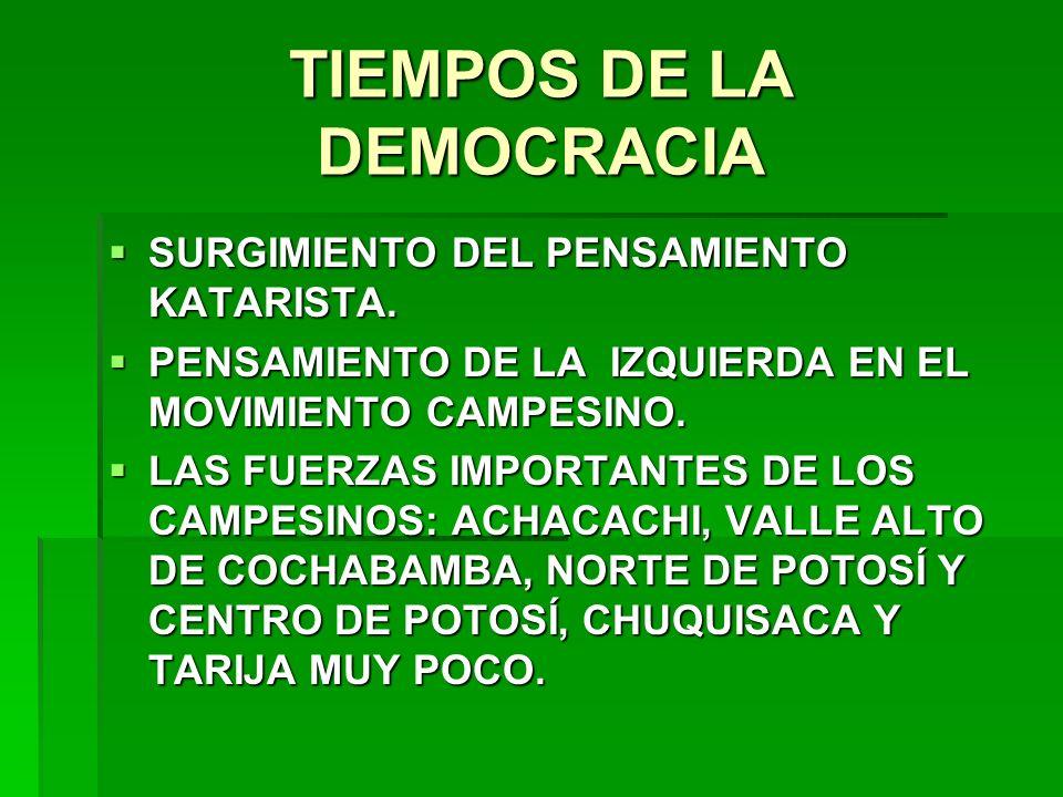TIEMPOS DE LA DEMOCRACIA SURGIMIENTO DEL PENSAMIENTO KATARISTA. SURGIMIENTO DEL PENSAMIENTO KATARISTA. PENSAMIENTO DE LA IZQUIERDA EN EL MOVIMIENTO CA