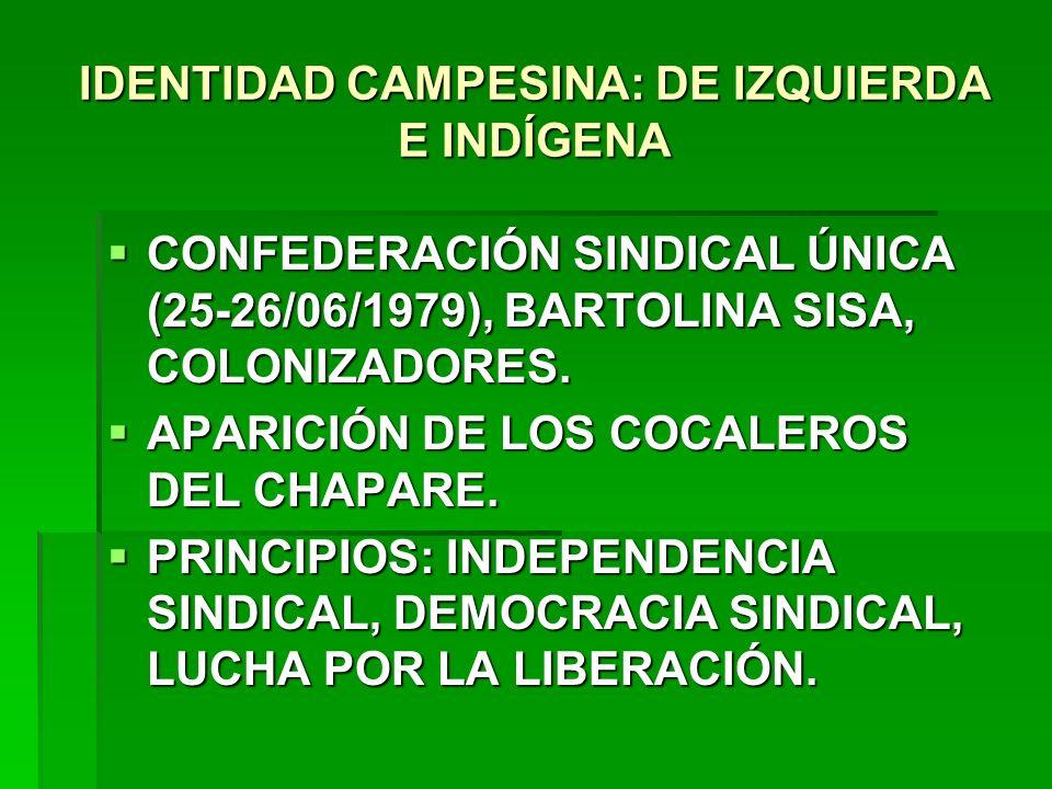 IDENTIDAD CAMPESINA: DE IZQUIERDA E INDÍGENA CONFEDERACIÓN SINDICAL ÚNICA (25-26/06/1979), BARTOLINA SISA, COLONIZADORES. CONFEDERACIÓN SINDICAL ÚNICA