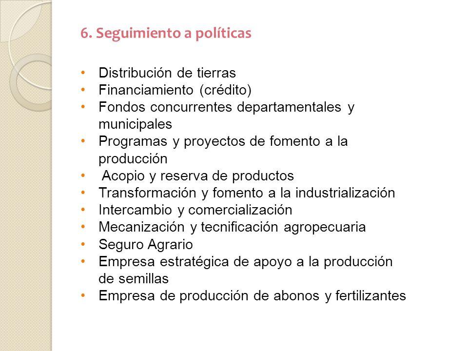 6. Seguimiento a políticas Distribución de tierras Financiamiento (crédito) Fondos concurrentes departamentales y municipales Programas y proyectos de