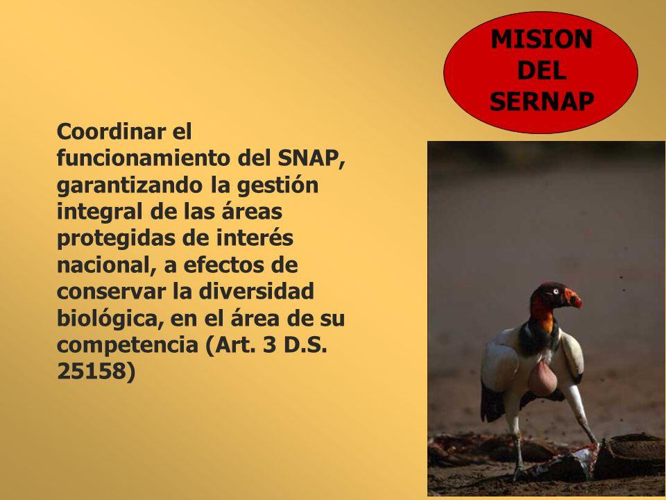 MISION DEL SERNAP Coordinar el funcionamiento del SNAP, garantizando la gestión integral de las áreas protegidas de interés nacional, a efectos de con