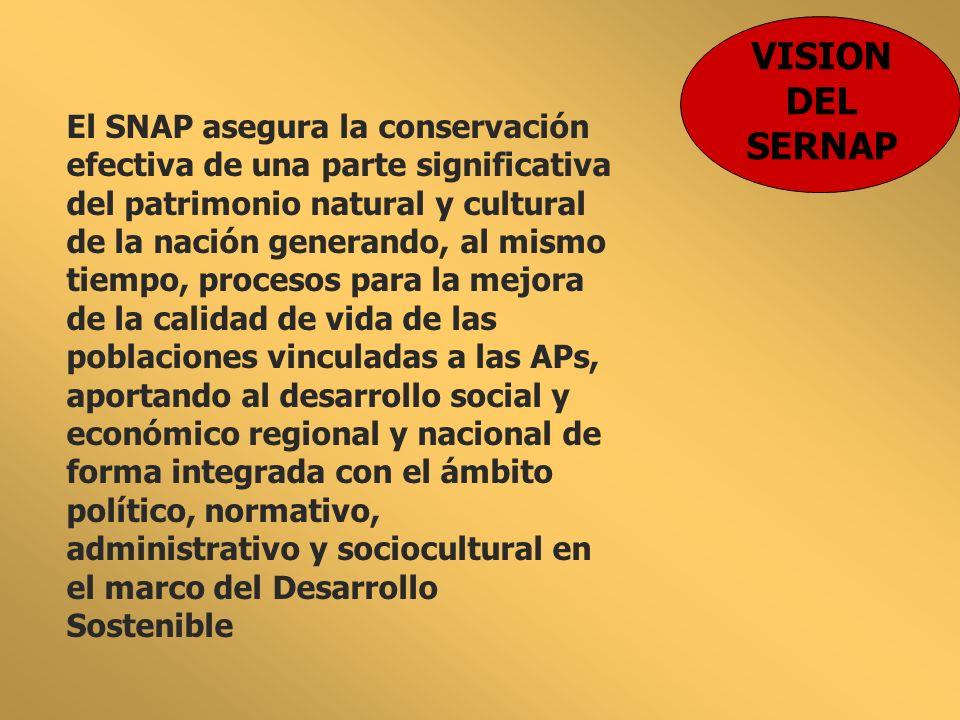 VISION DEL SERNAP El SNAP asegura la conservación efectiva de una parte significativa del patrimonio natural y cultural de la nación generando, al mis