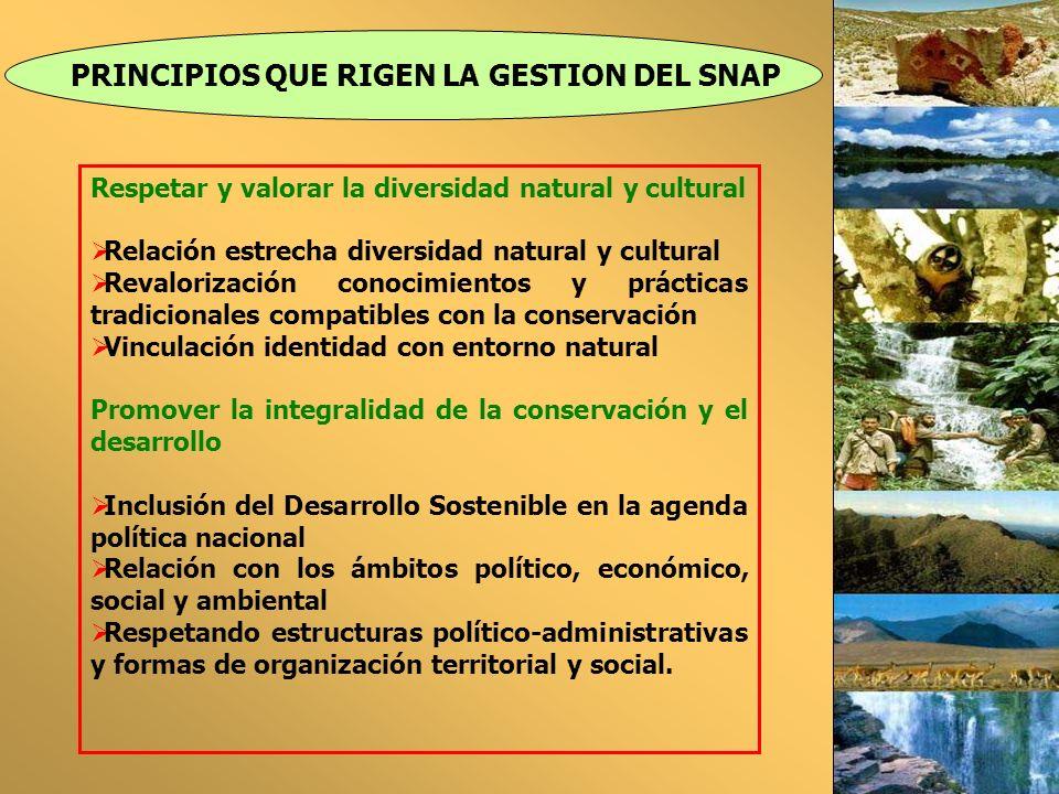 PRINCIPIOS QUE RIGEN LA GESTION DEL SNAP Respetar y valorar la diversidad natural y cultural Relación estrecha diversidad natural y cultural Revaloriz