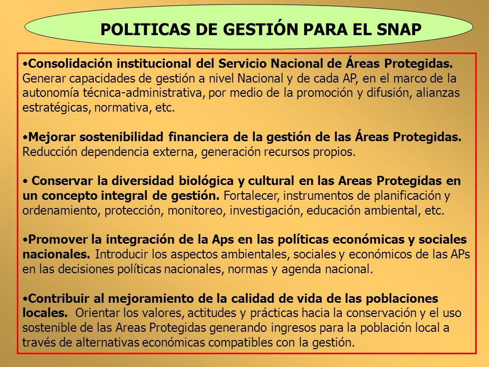 POLITICAS DE GESTIÓN PARA EL SNAP Consolidación institucional del Servicio Nacional de Áreas Protegidas. Generar capacidades de gestión a nivel Nacion