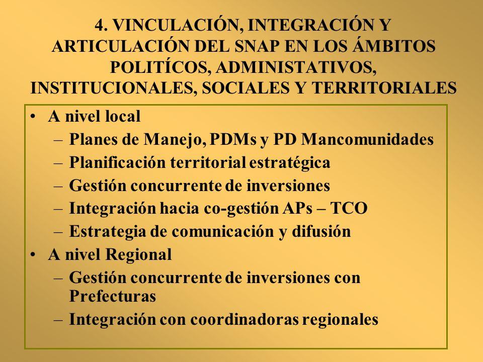 4. VINCULACIÓN, INTEGRACIÓN Y ARTICULACIÓN DEL SNAP EN LOS ÁMBITOS POLITÍCOS, ADMINISTATIVOS, INSTITUCIONALES, SOCIALES Y TERRITORIALES A nivel local