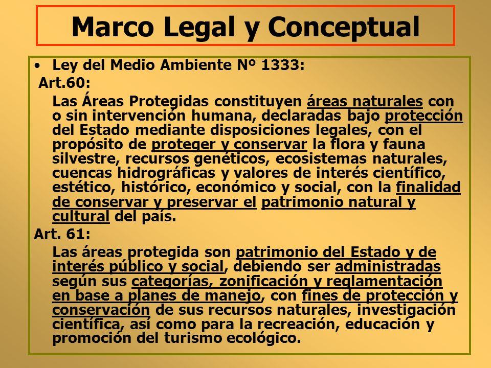 Marco Legal y Conceptual Ley del Medio Ambiente Nº 1333: Art.60: Las Áreas Protegidas constituyen áreas naturales con o sin intervención humana, decla