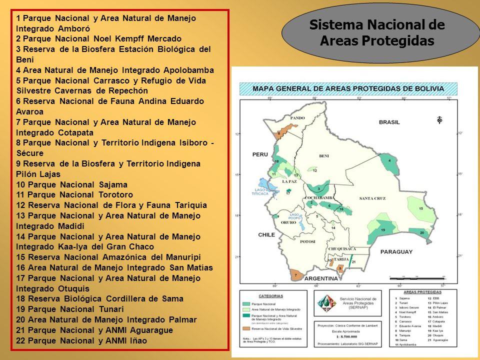 Sistema Nacional de Areas Protegidas 1 Parque Nacional y Area Natural de Manejo Integrado Amboró 2 Parque Nacional Noel Kempff Mercado 3 Reserva de la