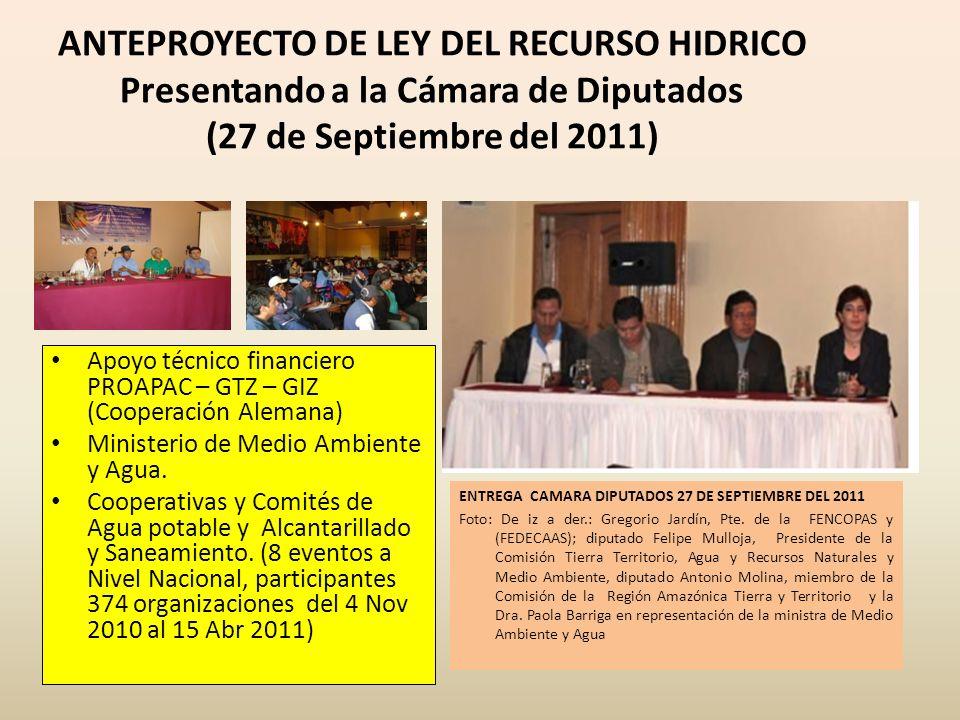 ANTEPROYECTO DE LEY DEL RECURSO HIDRICO Presentando a la Cámara de Diputados (27 de Septiembre del 2011) ENTREGA CAMARA DIPUTADOS 27 DE SEPTIEMBRE DEL