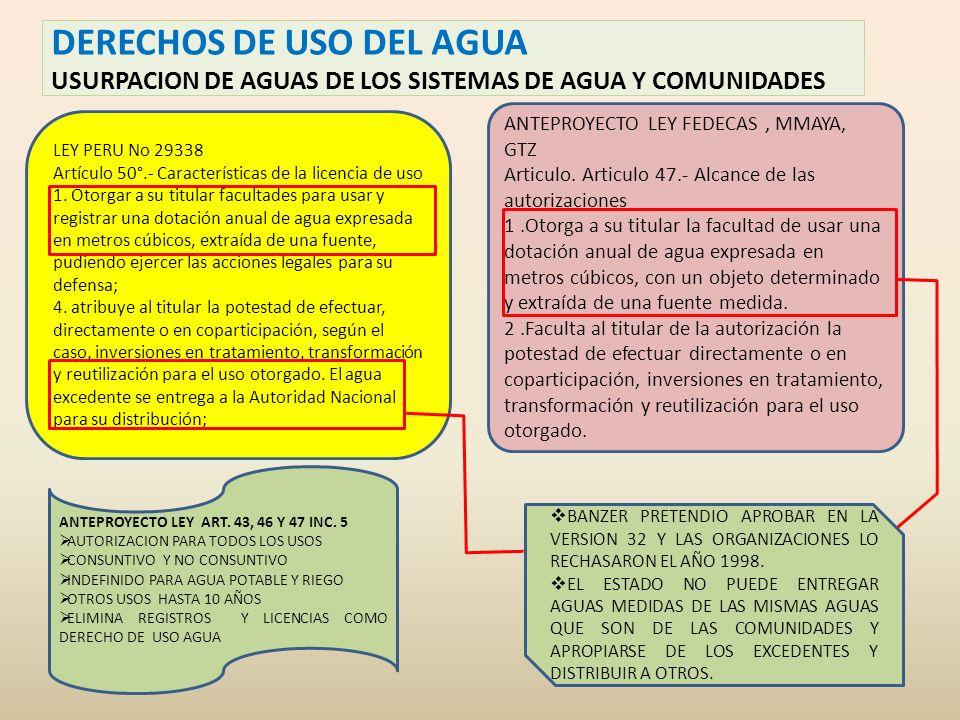 DERECHOS DE USO DEL AGUA USURPACION DE AGUAS DE LOS SISTEMAS DE AGUA Y COMUNIDADES LEY PERU No 29338 Artículo 50°.- Características de la licencia de