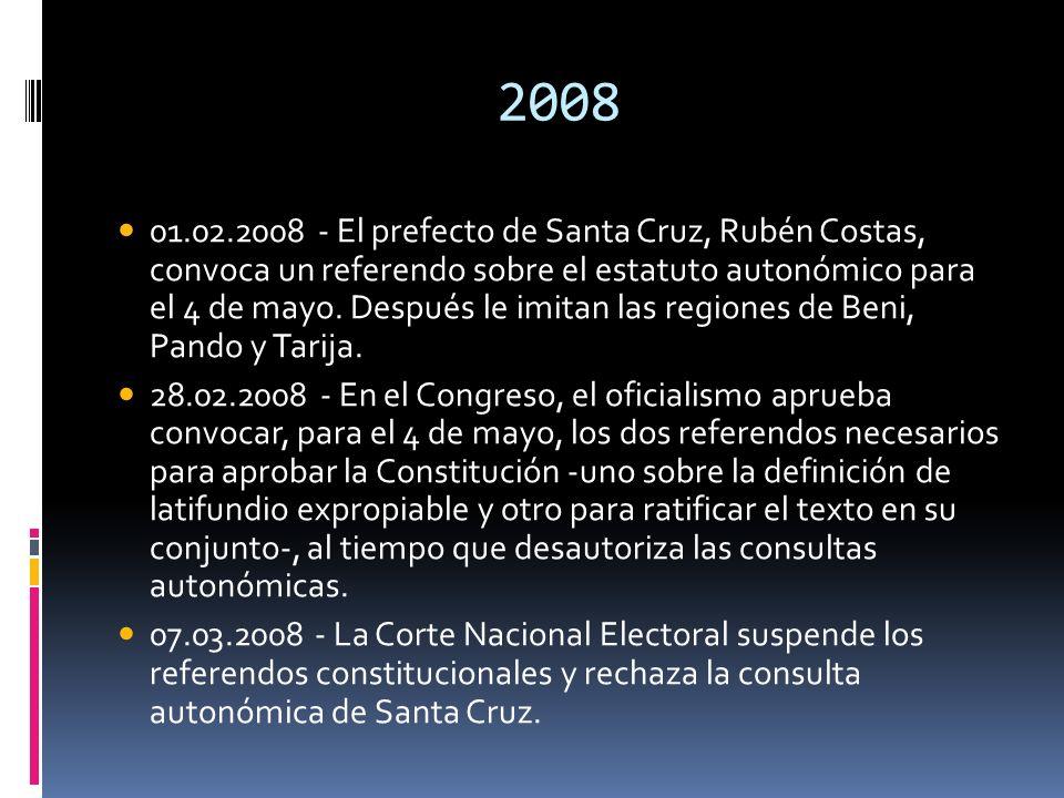 2008 01.02.2008 - El prefecto de Santa Cruz, Rubén Costas, convoca un referendo sobre el estatuto autonómico para el 4 de mayo. Después le imitan las