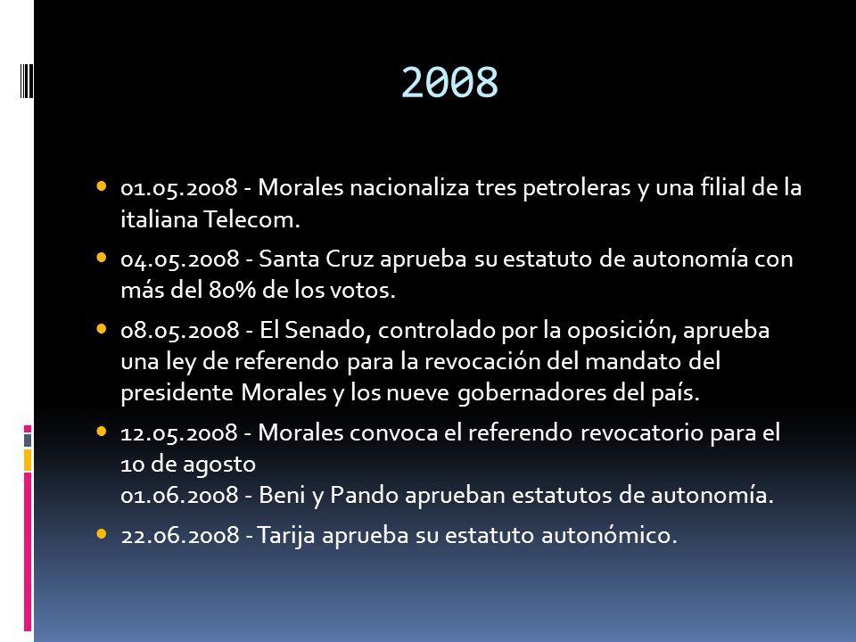 2008 01.05.2008 - Morales nacionaliza tres petroleras y una filial de la italiana Telecom. 04.05.2008 - Santa Cruz aprueba su estatuto de autonomía co