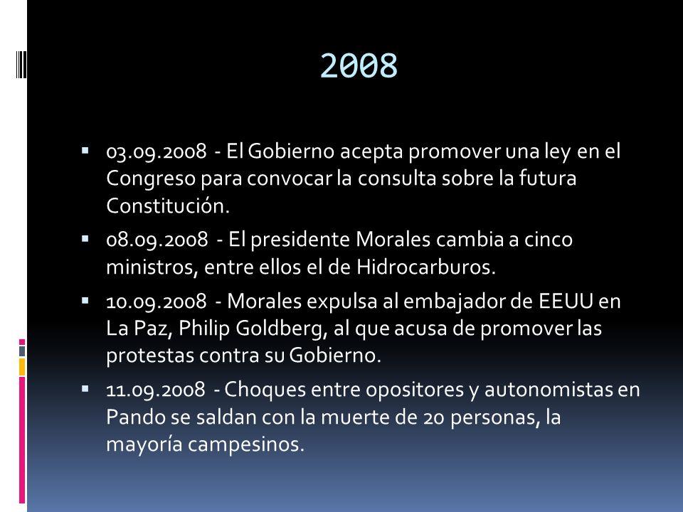 2008 03.09.2008 - El Gobierno acepta promover una ley en el Congreso para convocar la consulta sobre la futura Constitución. 08.09.2008 - El president