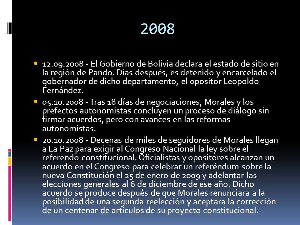 2008 12.09.2008 - El Gobierno de Bolivia declara el estado de sitio en la región de Pando. Días después, es detenido y encarcelado el gobernador de di
