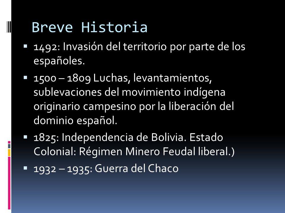 Breve Historia 1492: Invasión del territorio por parte de los españoles. 1500 – 1809 Luchas, levantamientos, sublevaciones del movimiento indígena ori