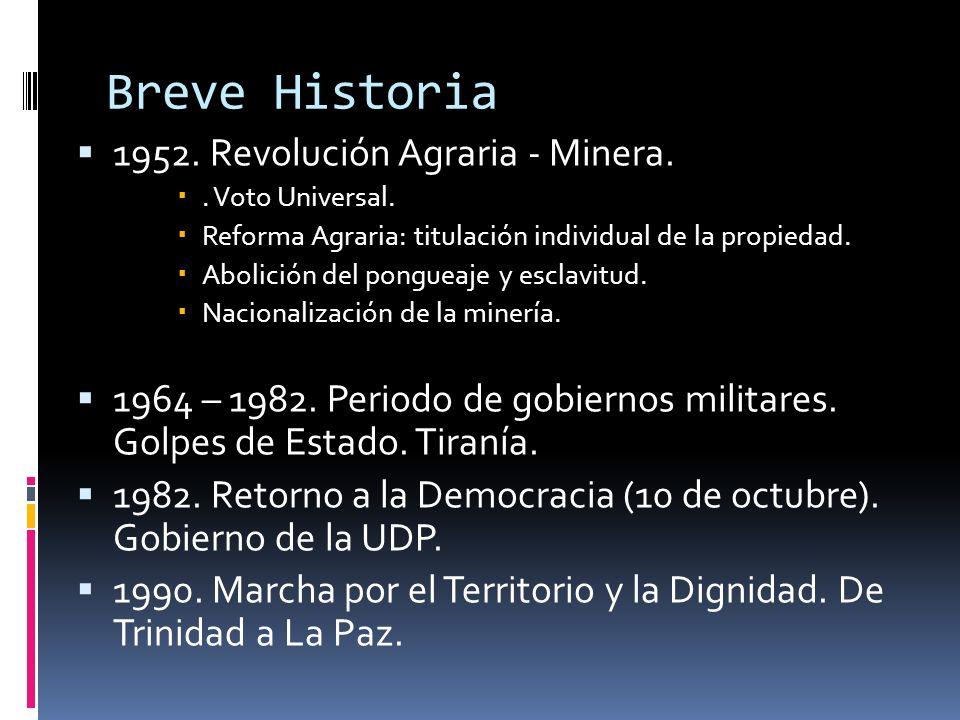 Breve Historia 1952. Revolución Agraria - Minera.. Voto Universal. Reforma Agraria: titulación individual de la propiedad. Abolición del pongueaje y e
