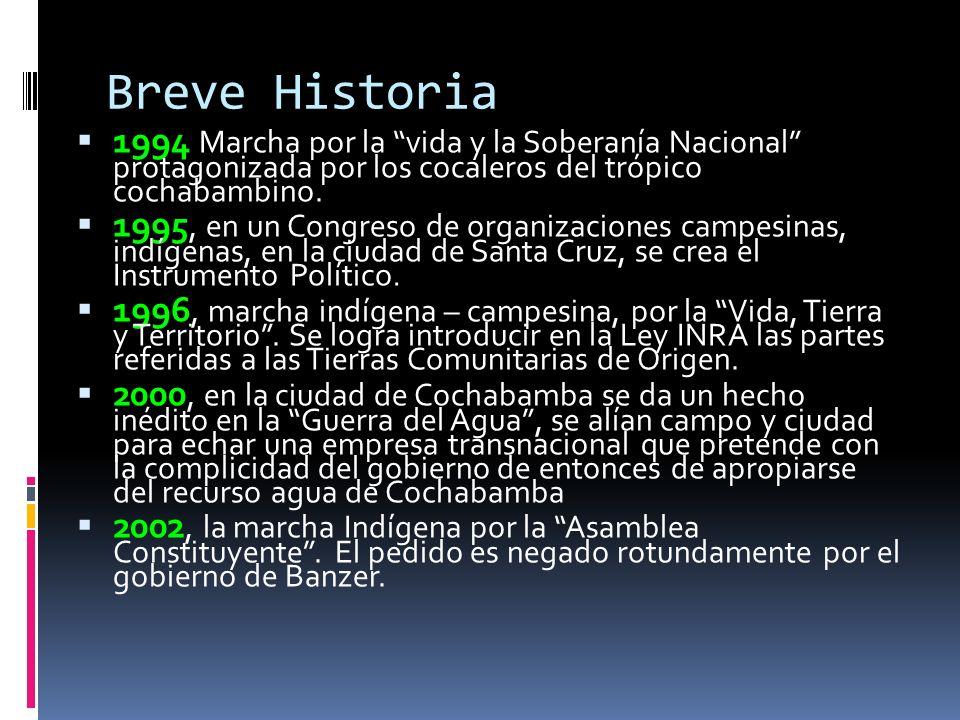Breve Historia 1994 Marcha por la vida y la Soberanía Nacional protagonizada por los cocaleros del trópico cochabambino. 1995, en un Congreso de organ