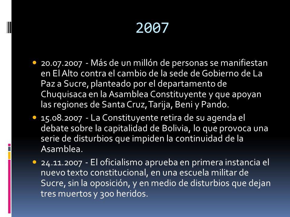 2007 20.07.2007 - Más de un millón de personas se manifiestan en El Alto contra el cambio de la sede de Gobierno de La Paz a Sucre, planteado por el d