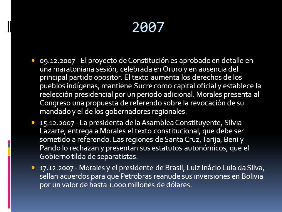 2007 09.12.2007 - El proyecto de Constitución es aprobado en detalle en una maratoniana sesión, celebrada en Oruro y en ausencia del principal partido