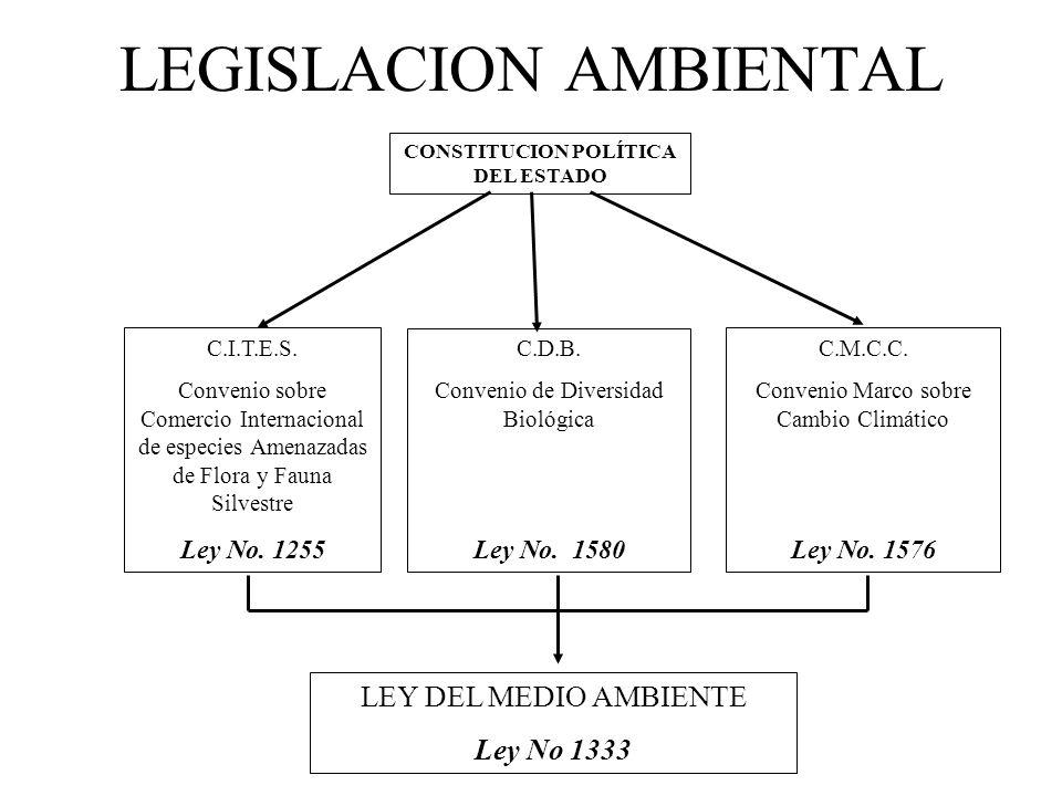 LEGISLACION AMBIENTAL CONSTITUCION POLÍTICA DEL ESTADO C.I.T.E.S. Convenio sobre Comercio Internacional de especies Amenazadas de Flora y Fauna Silves
