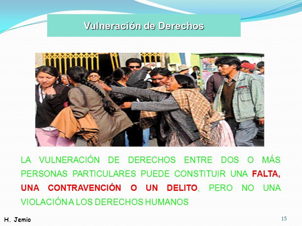 15 LA VULNERACIÓN DE DERECHOS ENTRE DOS O MÁS PERSONAS PARTICULARES PUEDE CONSTITUIR UNA FALTA, UNA CONTRAVENCIÓN O UN DELITO, PERO NO UNA VIOLACIÓN A