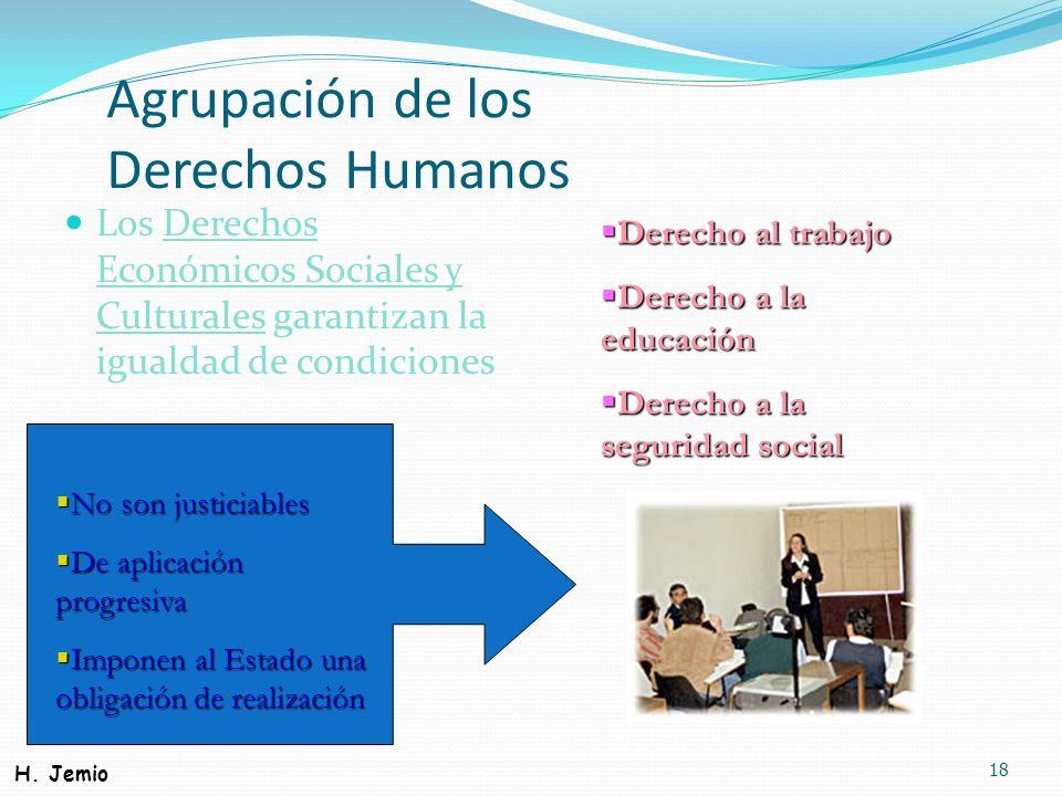Agrupación de los Derechos Humanos Los Derechos Económicos Sociales y Culturales garantizan la igualdad de condiciones 18 No son justiciables No son j