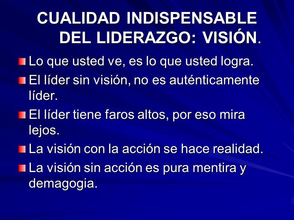 CUALIDAD INDISPENSABLE DEL LIDERAZGO: VISIÓN. Lo que usted ve, es lo que usted logra. El líder sin visión, no es auténticamente líder. El líder tiene