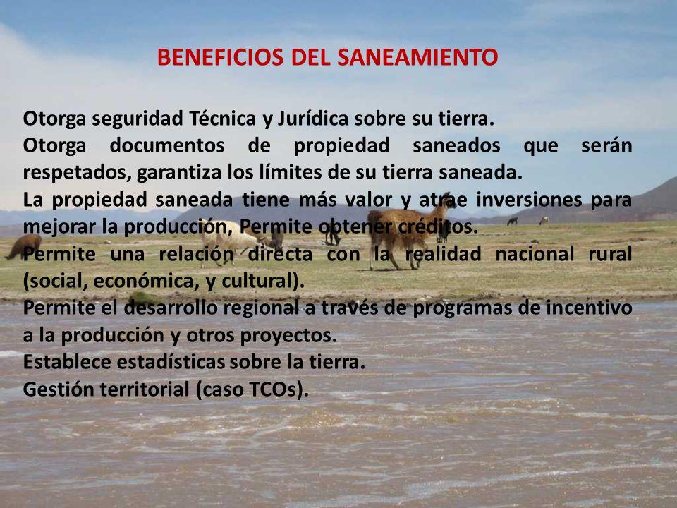 BENEFICIOS DEL SANEAMIENTO Otorga seguridad Técnica y Jurídica sobre su tierra. Otorga documentos de propiedad saneados que serán respetados, garantiz