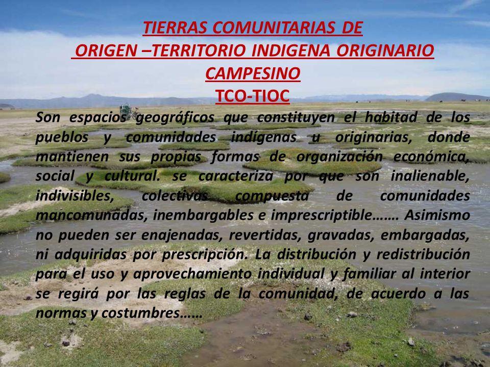 TIERRAS COMUNITARIAS DE ORIGEN –TERRITORIO INDIGENA ORIGINARIO CAMPESINO TCO-TIOC Son espacios geográficos que constituyen el habitad de los pueblos y