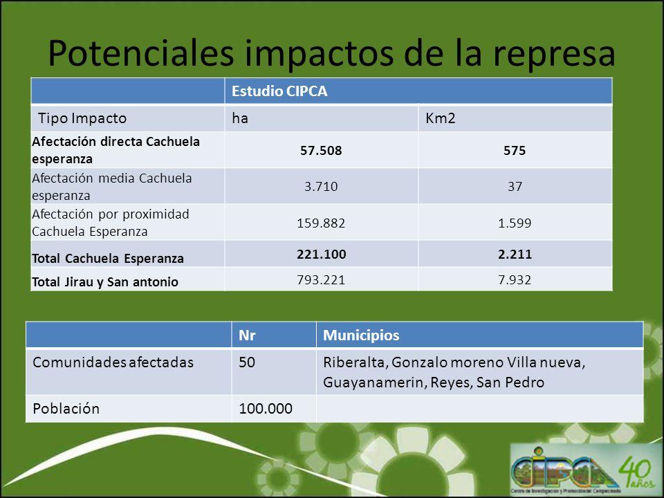 Potenciales impactos de la represa Estudio CIPCA Tipo ImpactohaKm2 Afectación directa Cachuela esperanza 57.508575 Afectación media Cachuela esperanza