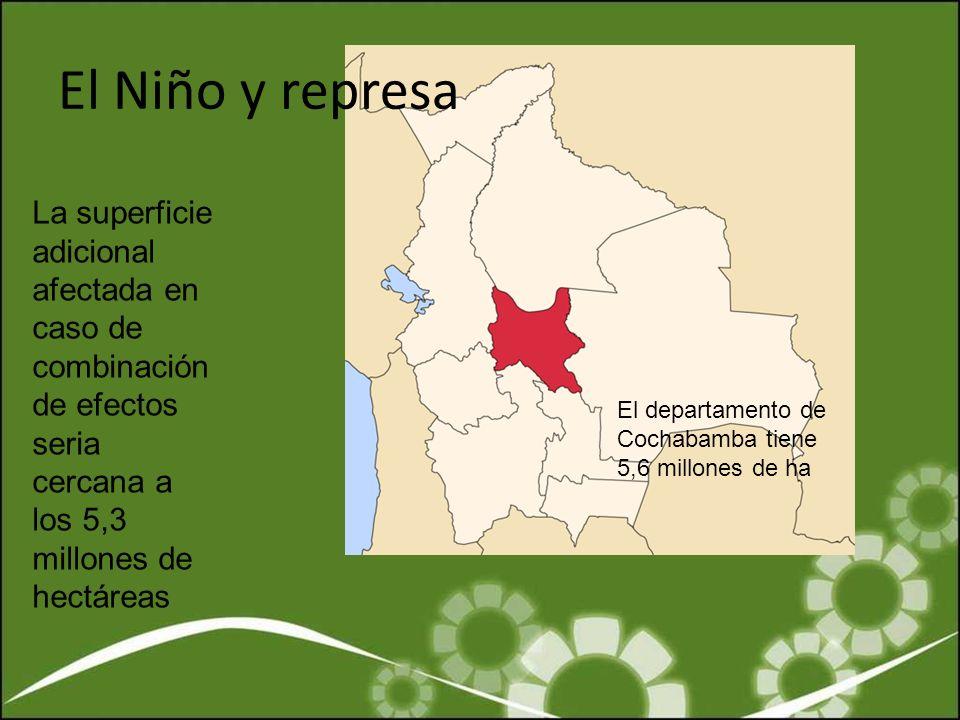 El Niño y represa La superficie adicional afectada en caso de combinación de efectos seria cercana a los 5,3 millones de hectáreas El departamento de