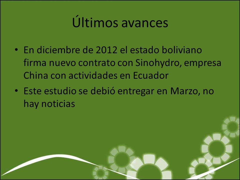 Últimos avances En diciembre de 2012 el estado boliviano firma nuevo contrato con Sinohydro, empresa China con actividades en Ecuador Este estudio se