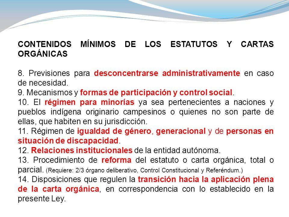 CONTENIDOS MÍNIMOS DE LOS ESTATUTOS Y CARTAS ORGÁNICAS 8. Previsiones para desconcentrarse administrativamente en caso de necesidad. 9. Mecanismos y f