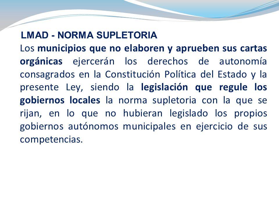 Los municipios que no elaboren y aprueben sus cartas orgánicas ejercerán los derechos de autonomía consagrados en la Constitución Política del Estado