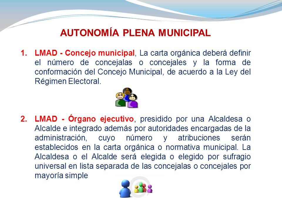 AUTONOMÍA PLENA MUNICIPAL 1.LMAD - Concejo municipal, La carta orgánica deberá definir el número de concejalas o concejales y la forma de conformación