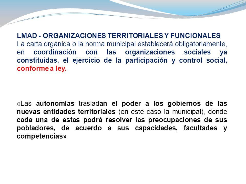 LMAD - ORGANIZACIONES TERRITORIALES Y FUNCIONALES La carta orgánica o la norma municipal establecerá obligatoriamente, en coordinación con las organiz