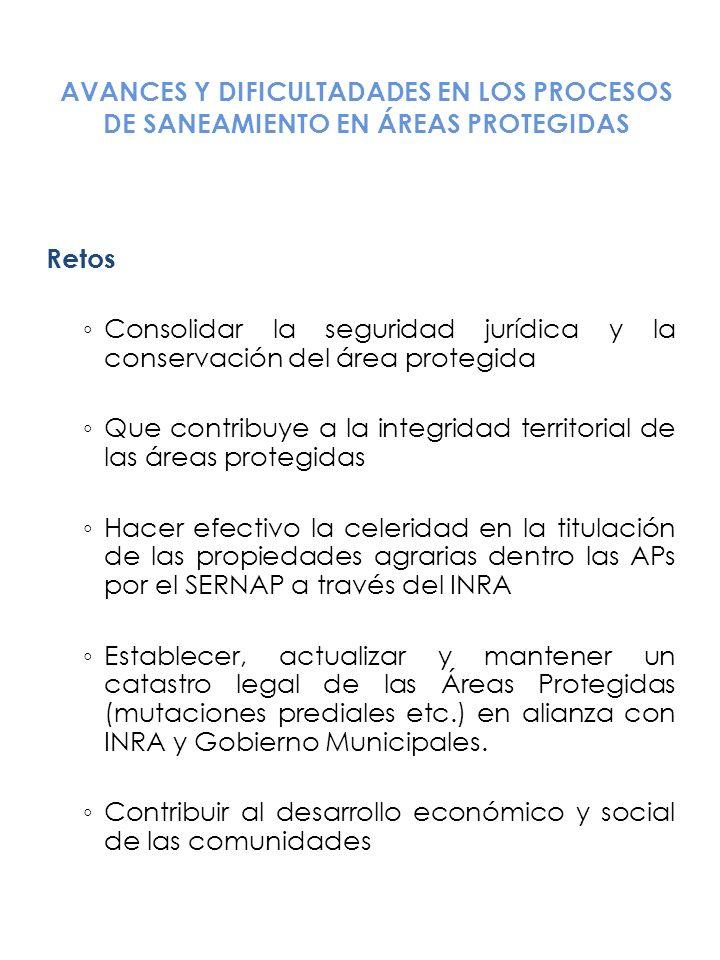 AVANCES Y DIFICULTADADES EN LOS PROCESOS DE SANEAMIENTO EN ÁREAS PROTEGIDAS Retos Consolidar la seguridad jurídica y la conservación del área protegid