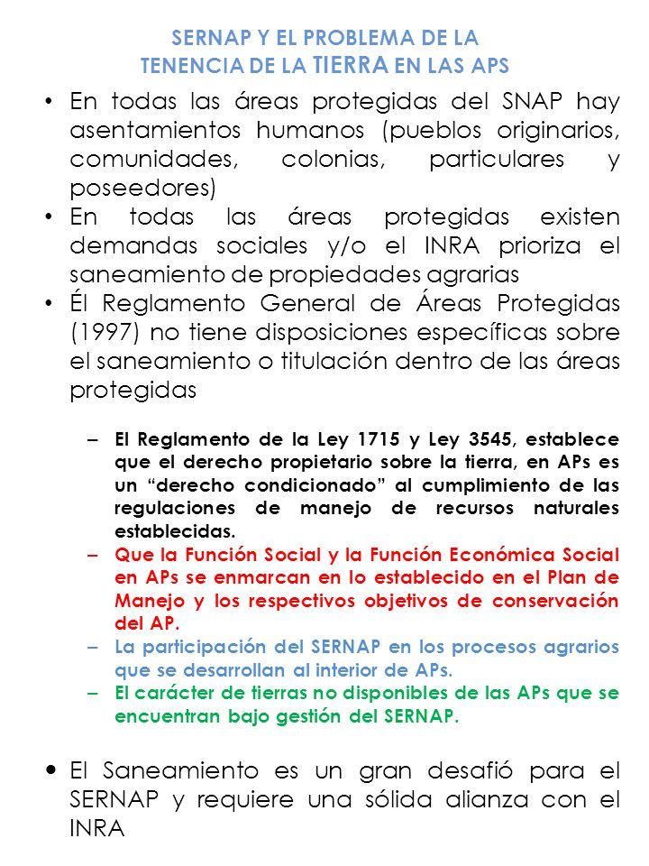 SERNAP Y EL PROBLEMA DE LA TENENCIA DE LA TIERRA EN LAS APS En todas las áreas protegidas del SNAP hay asentamientos humanos (pueblos originarios, com