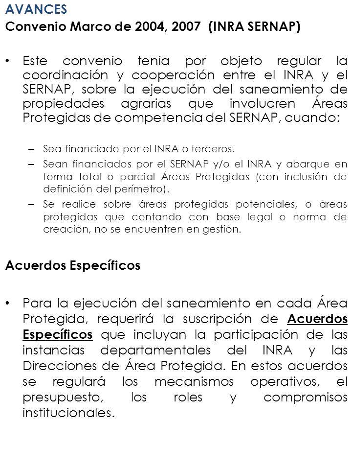 AVANCES Convenio Marco de 2004, 2007 (INRA SERNAP) Este convenio tenia por objeto regular la coordinación y cooperación entre el INRA y el SERNAP, sob