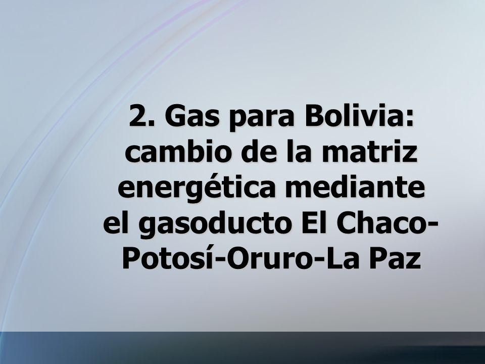 2. Gas para Bolivia: cambio de la matriz energética mediante el gasoducto El Chaco- Potosí-Oruro-La Paz