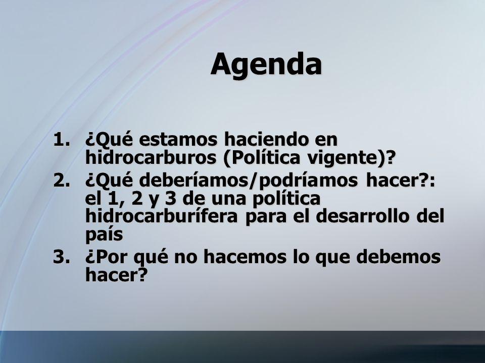 Agenda 1.¿Qué estamos haciendo en hidrocarburos (Política vigente)? 2.¿Qué deberíamos/podríamos hacer?: el 1, 2 y 3 de una política hidrocarburífera p