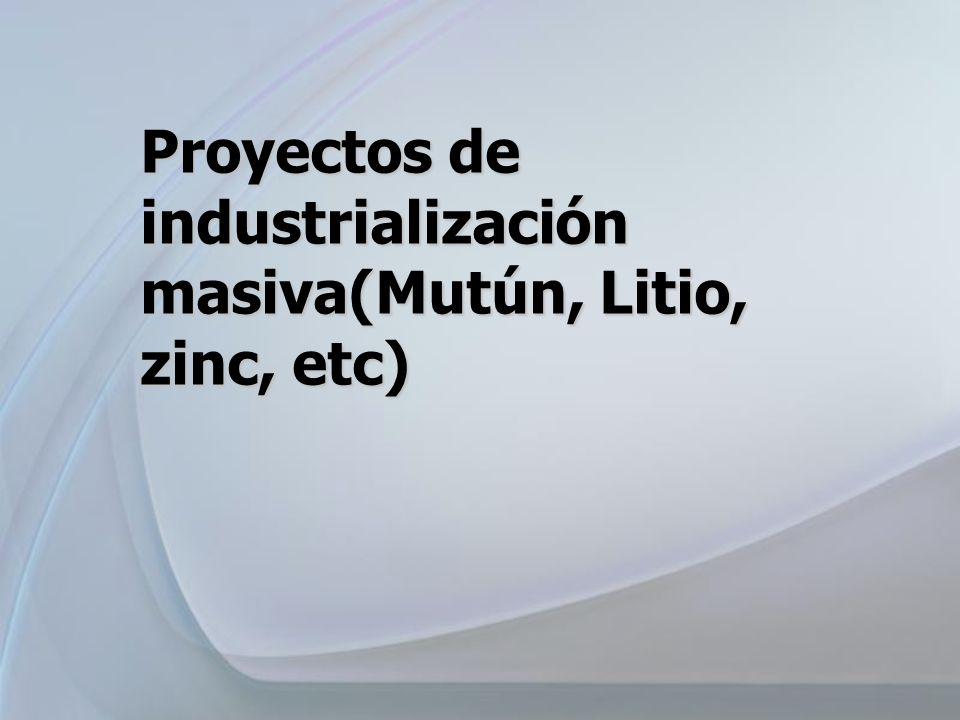 Proyectos de industrialización masiva(Mutún, Litio, zinc, etc)