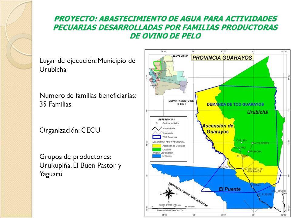 PROYECTO: ABASTECIMIENTO DE AGUA PARA ACTIVIDADES PECUARIAS DESARROLLADAS POR FAMILIAS PRODUCTORAS DE OVINO DE PELO Lugar de ejecución: Municipio de U