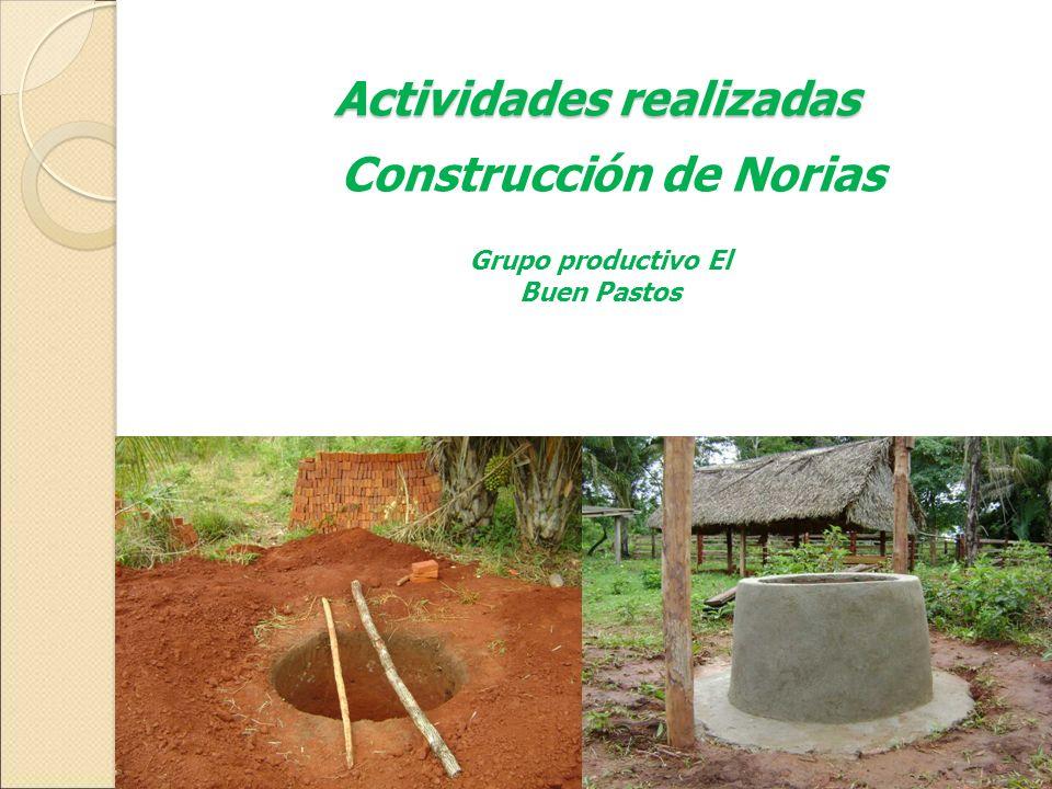 Actividades realizadas Grupo productivo El Buen Pastos Construcción de Norias