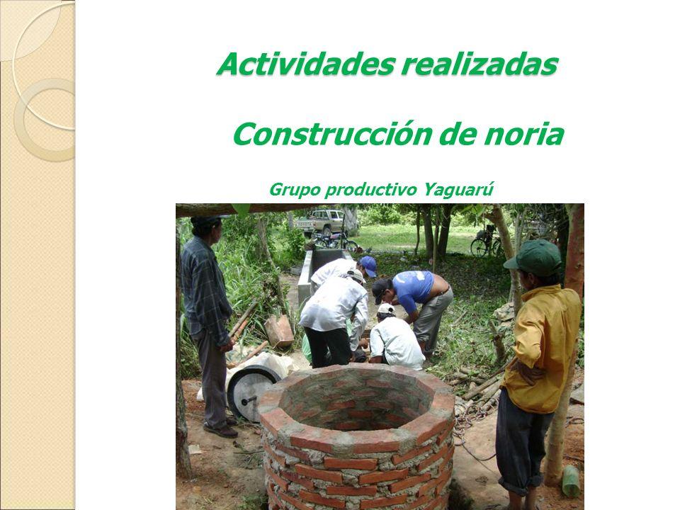 Actividades realizadas Grupo productivo Yaguarú Construcción de noria