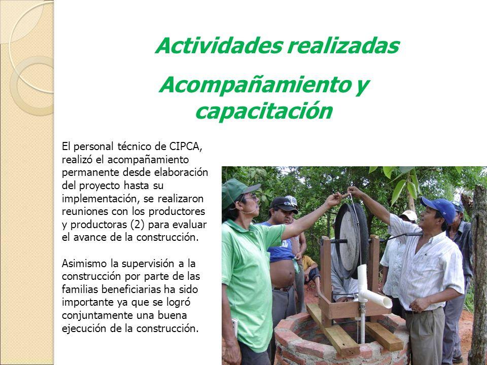 Actividades realizadas Acompañamiento y capacitación El personal técnico de CIPCA, realizó el acompañamiento permanente desde elaboración del proyecto