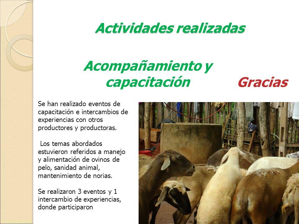 Actividades realizadas Acompañamiento y capacitación Se han realizado eventos de capacitación e intercambios de experiencias con otros productores y p