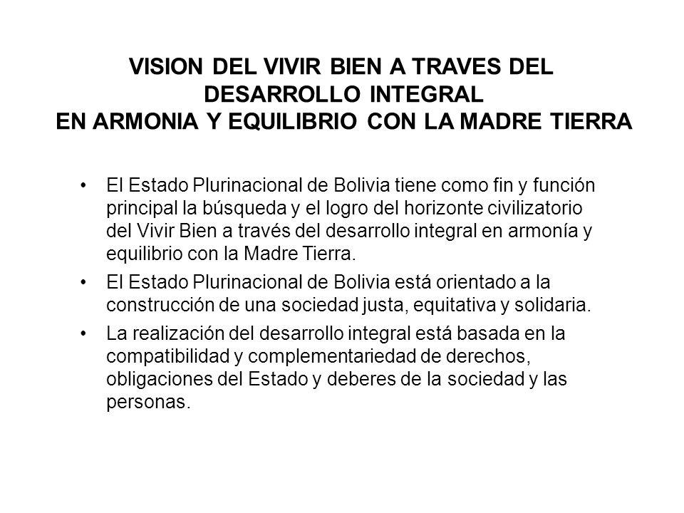 VISION DEL VIVIR BIEN A TRAVES DEL DESARROLLO INTEGRAL EN ARMONIA Y EQUILIBRIO CON LA MADRE TIERRA El Estado Plurinacional de Bolivia tiene como fin y