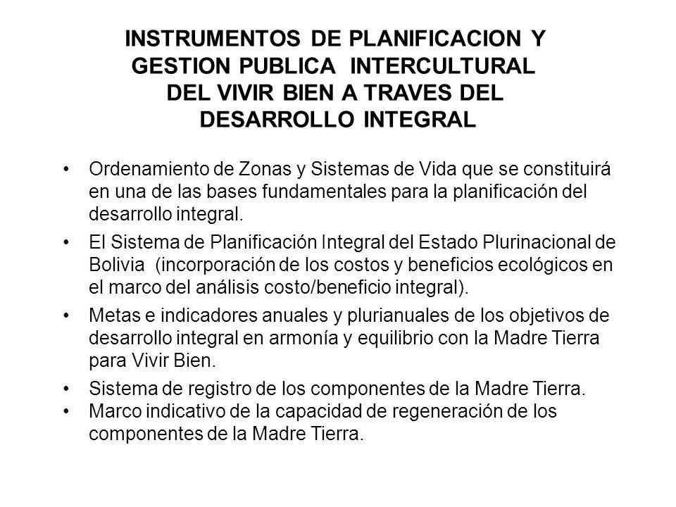 INSTRUMENTOS DE PLANIFICACION Y GESTION PUBLICA INTERCULTURAL DEL VIVIR BIEN A TRAVES DEL DESARROLLO INTEGRAL Ordenamiento de Zonas y Sistemas de Vida