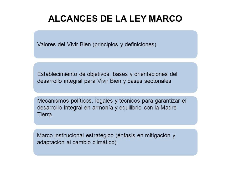 ALCANCES DE LA LEY MARCO Valores del Vivir Bien (principios y definiciones). Establecimiento de objetivos, bases y orientaciones del desarrollo integr