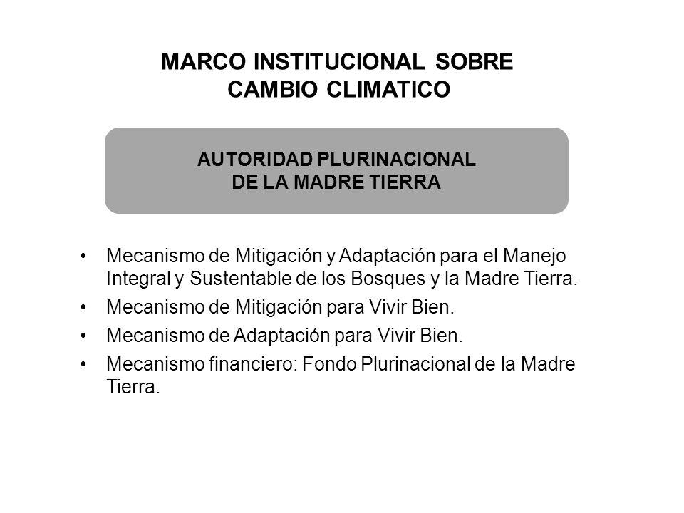 MARCO INSTITUCIONAL SOBRE CAMBIO CLIMATICO AUTORIDAD PLURINACIONAL DE LA MADRE TIERRA Mecanismo de Mitigación y Adaptación para el Manejo Integral y S
