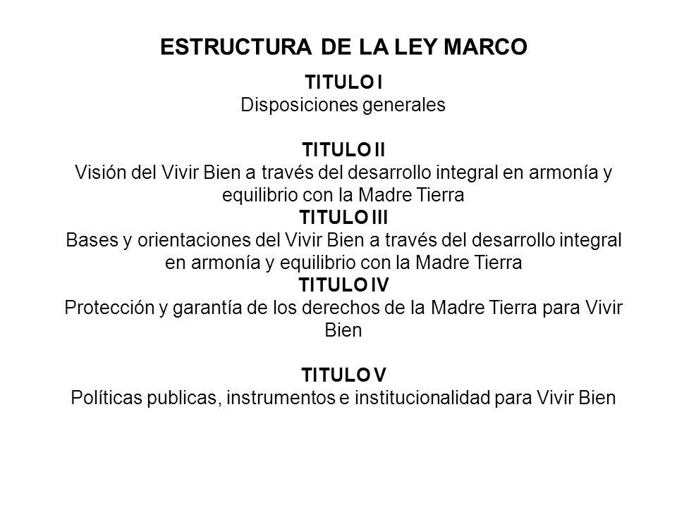 ESTRUCTURA DE LA LEY MARCO TITULO I Disposiciones generales TITULO II Visión del Vivir Bien a través del desarrollo integral en armonía y equilibrio c